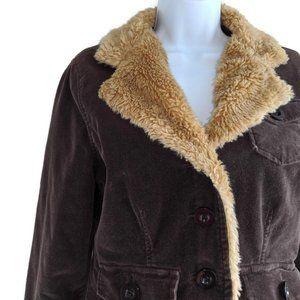 Sashimi Brown Corduroy Faux Sherpa Jacket Jrs Lg